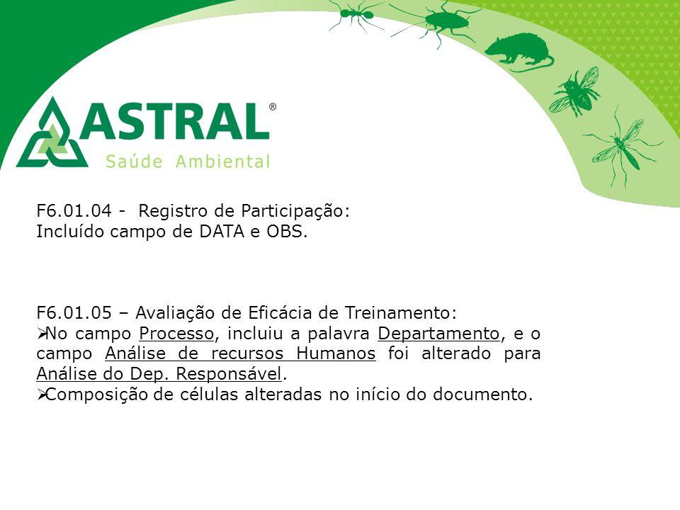 F6.01.04 - Registro de Participação: Incluído campo de DATA e OBS. F6.01.05 – Avaliação de Eficácia de Treinamento:  No campo Processo, incluiu a pal