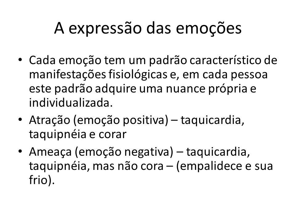 A expressão das emoções • Cada emoção tem um padrão característico de manifestações fisiológicas e, em cada pessoa este padrão adquire uma nuance próp