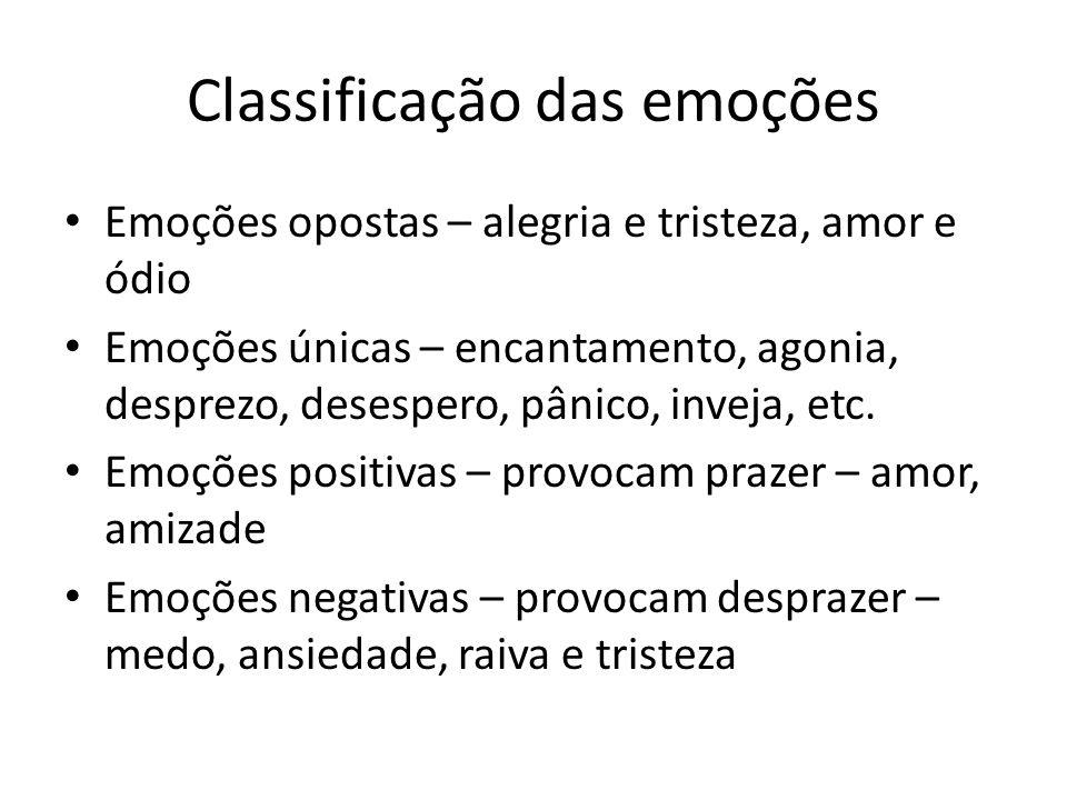 Classificação das emoções • Emoções opostas – alegria e tristeza, amor e ódio • Emoções únicas – encantamento, agonia, desprezo, desespero, pânico, in