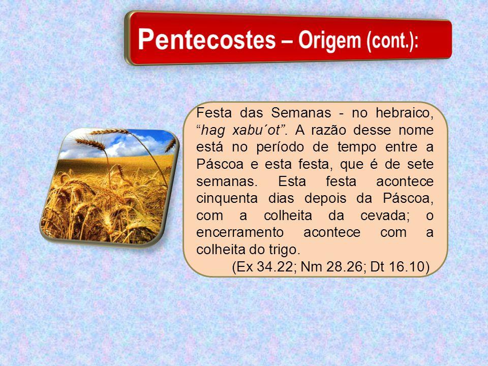 """Festa das Semanas - no hebraico, """"hag xabu´ot"""". A razão desse nome está no período de tempo entre a Páscoa e esta festa, que é de sete semanas. Esta f"""