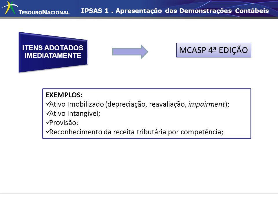 IPSAS 1. Apresentação das Demonstrações Contábeis EXEMPLOS:  Ativo Imobilizado (depreciação, reavaliação, impairment);  Ativo Intangível;  Provisão