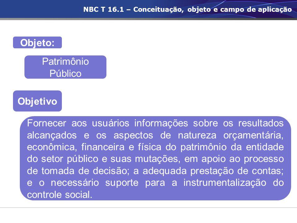 Objetivo Objeto: Patrimônio Público Fornecer aos usuários informações sobre os resultados alcançados e os aspectos de natureza orçamentária, econômica