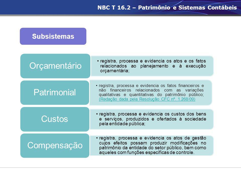 Subsistemas •registra, processa e evidencia os atos e os fatos relacionados ao planejamento e à execução orçamentária; Orçamentário •registra, process