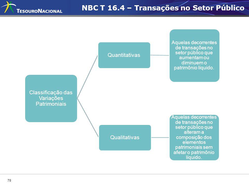 78 Classificação das Variações Patrimoniais Quantitativas Aquelas decorrentes de transações no setor público que aumentam ou diminuem o patrimônio líq