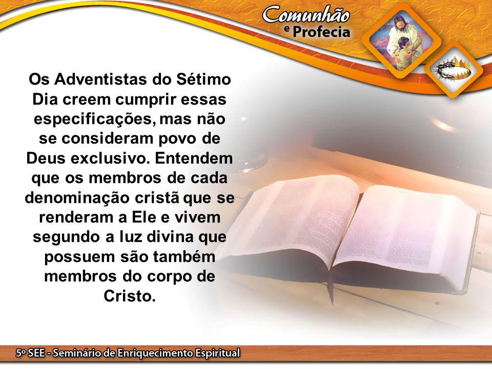 Os Adventistas do Sétimo Dia creem cumprir essas especificações, mas não se consideram povo de Deus exclusivo. Entendem que os membros de cada denomin
