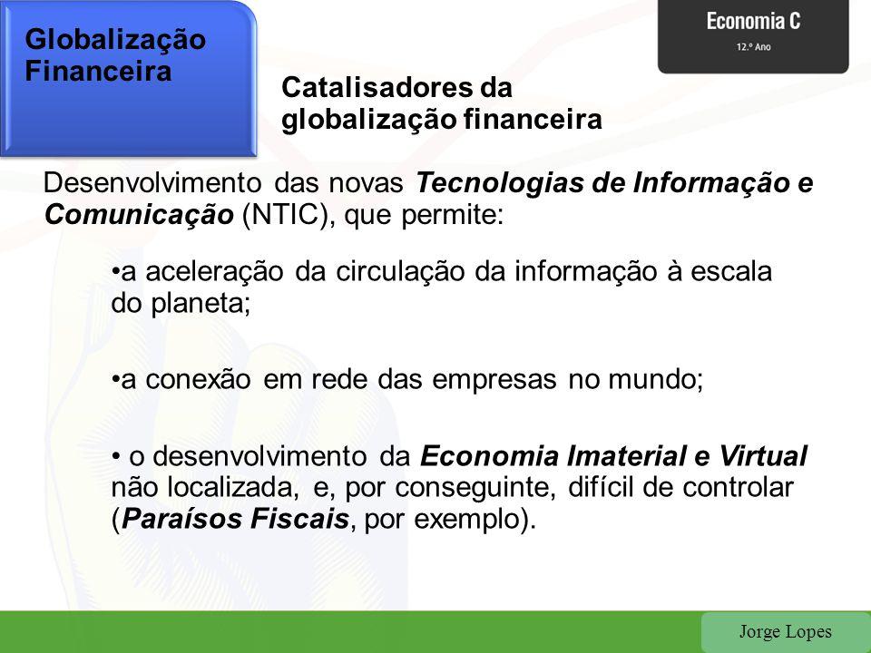 Jorge Lopes Globalização Financeira Catalisadores da globalização financeira Desenvolvimento das novas Tecnologias de Informação e Comunicação (NTIC),