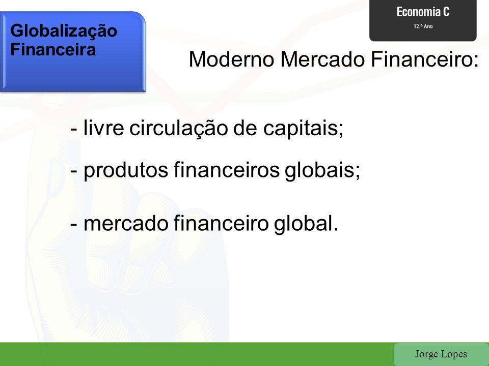 Jorge Lopes - livre circulação de capitais; - produtos financeiros globais; - mercado financeiro global. Globalização Financeira Moderno Mercado Finan