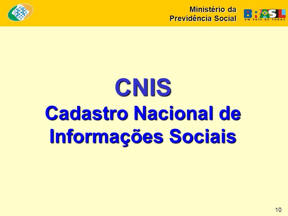 10 CNIS Cadastro Nacional de Informações Sociais