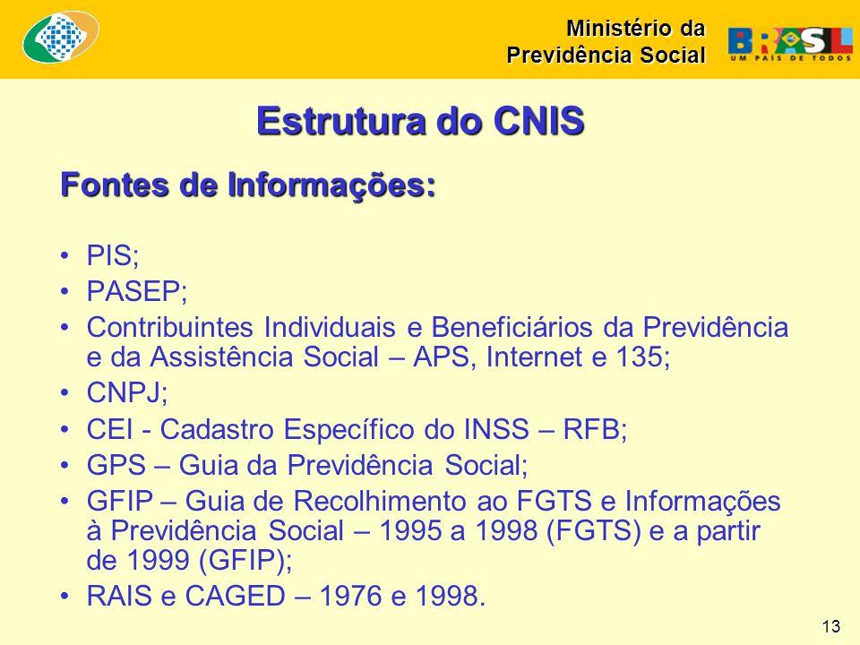 Ministério da Previdência Social 13 Estrutura do CNIS Fontes de Informações: •PIS; •PASEP; •Contribuintes Individuais e Beneficiários da Previdência e