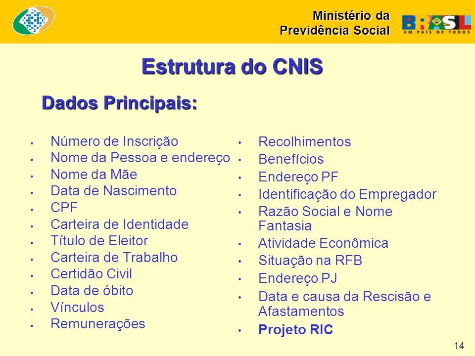 Ministério da Previdência Social 14 Estrutura do CNIS Dados Principais:  Número de Inscrição  Nome da Pessoa e endereço  Nome da Mãe  Data de Nasc