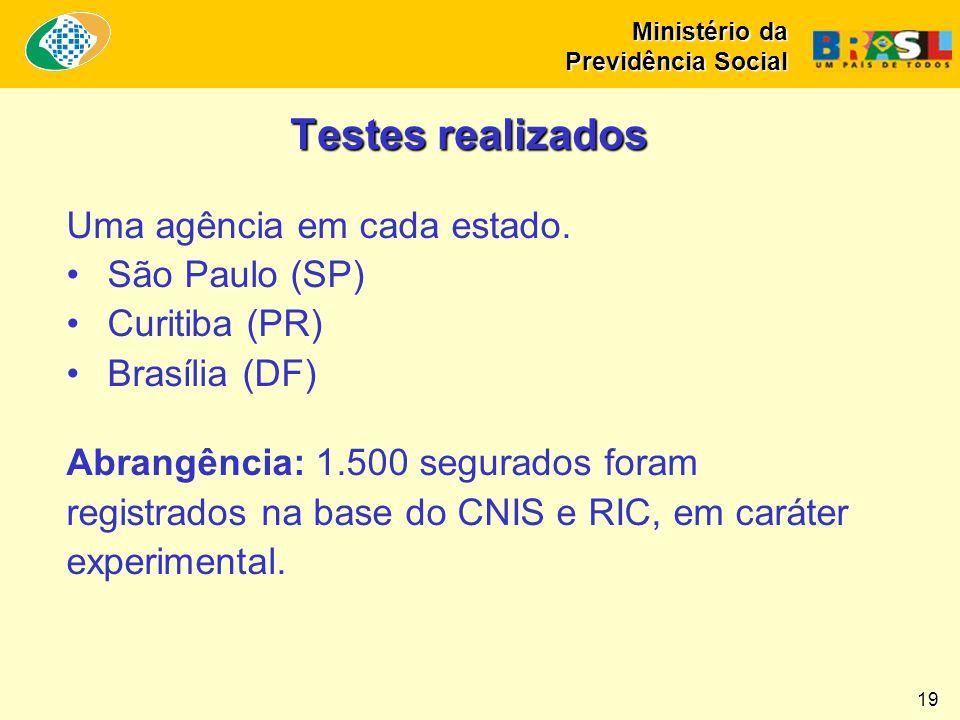 Ministério da Previdência Social 19 Testes realizados Uma agência em cada estado. •São Paulo (SP) •Curitiba (PR) •Brasília (DF) Abrangência: 1.500 seg