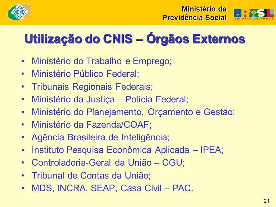 Ministério da Previdência Social 21 Utilização do CNIS – Órgãos Externos •Ministério do Trabalho e Emprego; •Ministério Público Federal; •Tribunais Re