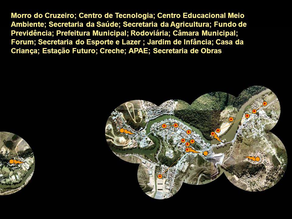 Morro do Cruzeiro; Centro de Tecnologia; Centro Educacional Meio Ambiente; Secretaria da Saúde; Secretaria da Agricultura; Fundo de Previdência; Prefeitura Municipal; Rodoviária; Câmara Municipal; Forum; Secretaria do Esporte e Lazer ; Jardim de Infância; Casa da Criança; Estação Futuro; Creche; APAE; Secretaria de Obras
