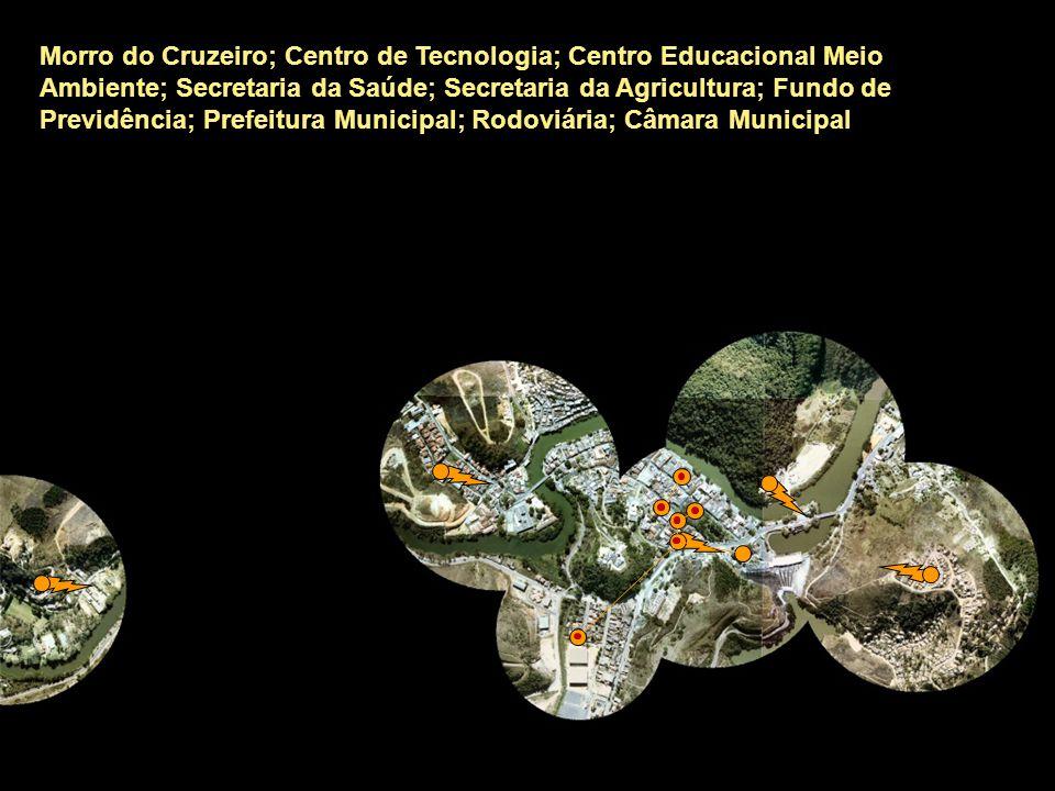 Morro do Cruzeiro; Centro de Tecnologia; Centro Educacional Meio Ambiente; Secretaria da Saúde; Secretaria da Agricultura; Fundo de Previdência; Prefeitura Municipal; Rodoviária; Câmara Municipal