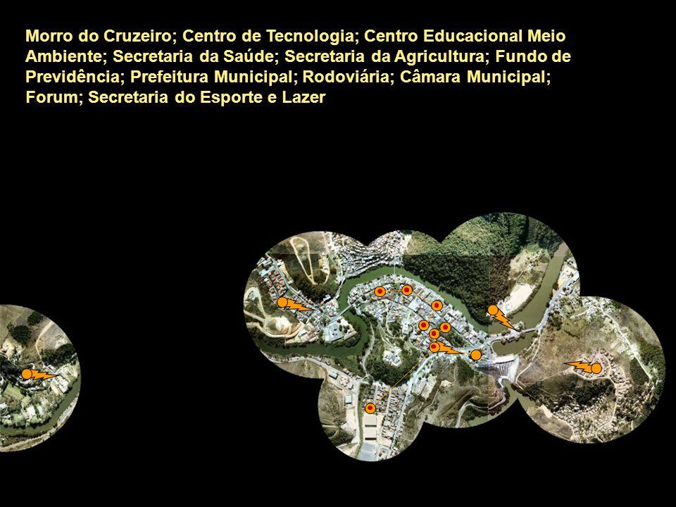 Morro do Cruzeiro; Centro de Tecnologia; Centro Educacional Meio Ambiente; Secretaria da Saúde; Secretaria da Agricultura; Fundo de Previdência; Prefeitura Municipal; Rodoviária; Câmara Municipal; Forum; Secretaria do Esporte e Lazer