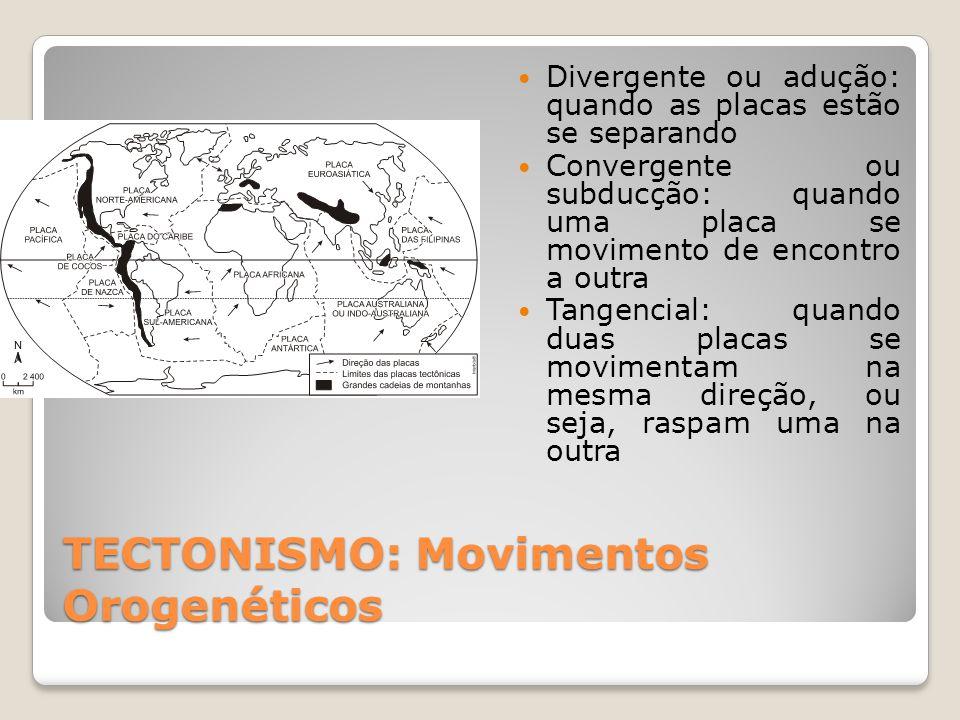 TECTONISMO: Movimentos Orogenéticos  Divergente ou adução: quando as placas estão se separando  Convergente ou subducção: quando uma placa se movimento de encontro a outra  Tangencial: quando duas placas se movimentam na mesma direção, ou seja, raspam uma na outra