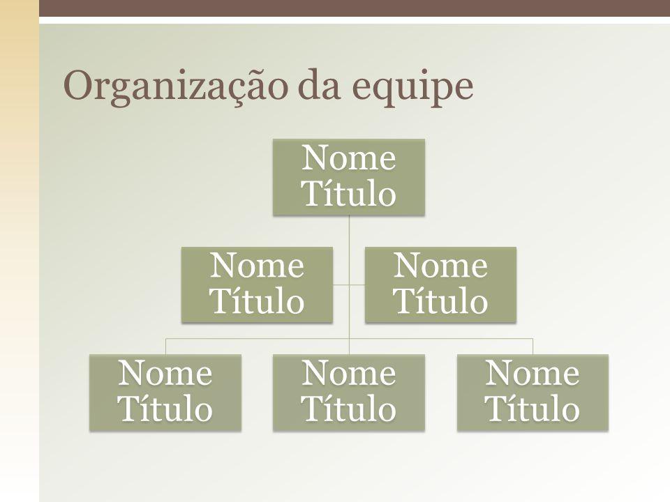 Nome Título Organização da equipe
