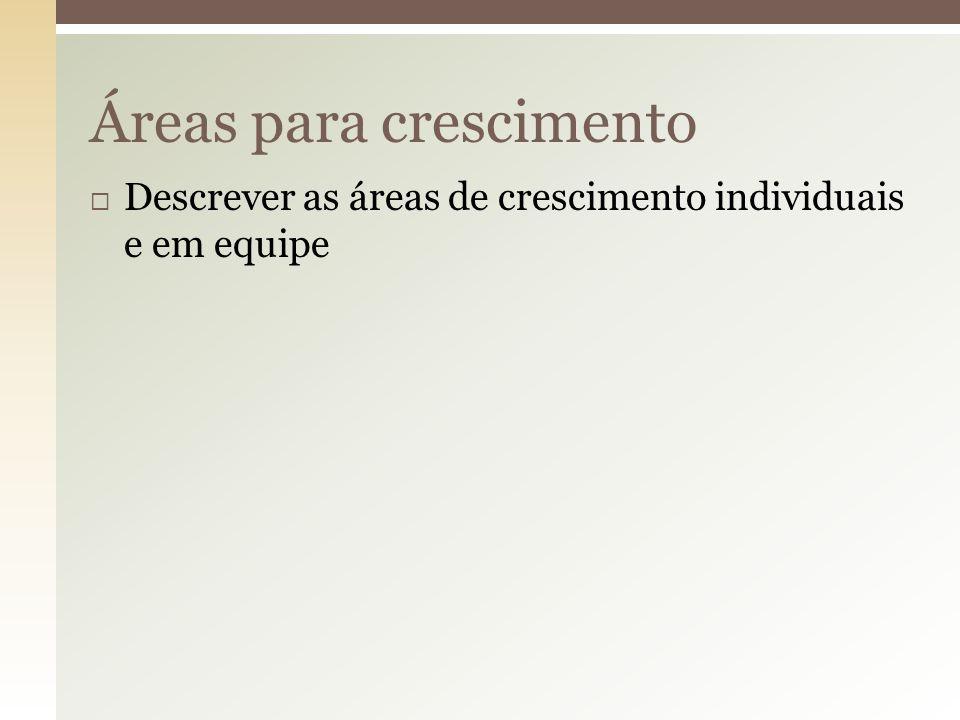  Descrever exercícios de consolidação da equipe Exercícios de consolidação da equipe