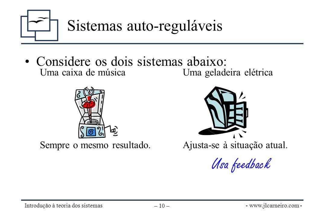 - www.jlcarneiro.com - Introdução à teoria dos sistemas – 10 – Sistemas auto-reguláveis Uma caixa de música Sempre o mesmo resultado. Uma geladeira el