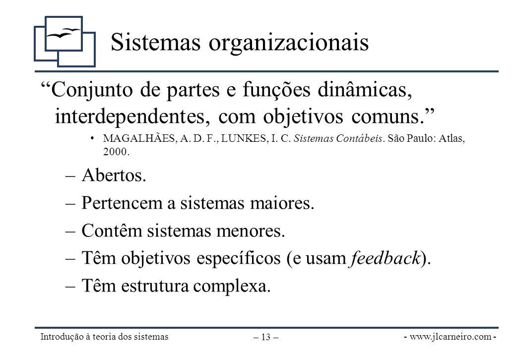 """- www.jlcarneiro.com - Introdução à teoria dos sistemas – 13 – Sistemas organizacionais """"Conjunto de partes e funções dinâmicas, interdependentes, com"""