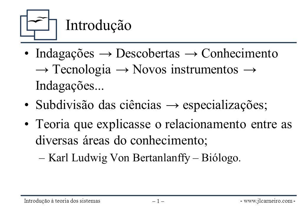 - www.jlcarneiro.com - Introdução à teoria dos sistemas – 2 – Definição de sistema (1) Um todo complexo e organizado; uma reunião de coisas ou partes formando um todo unitário e complexo. •JOHNSON, R.