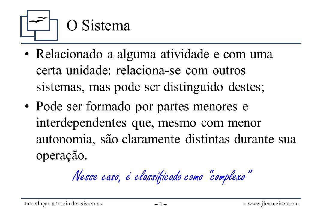 - www.jlcarneiro.com - Introdução à teoria dos sistemas – 5 – Hierarquia de sistemas (1) •Subsistema x Sistema x Supersistema: –Sistema é o objeto (foco) do estudo.