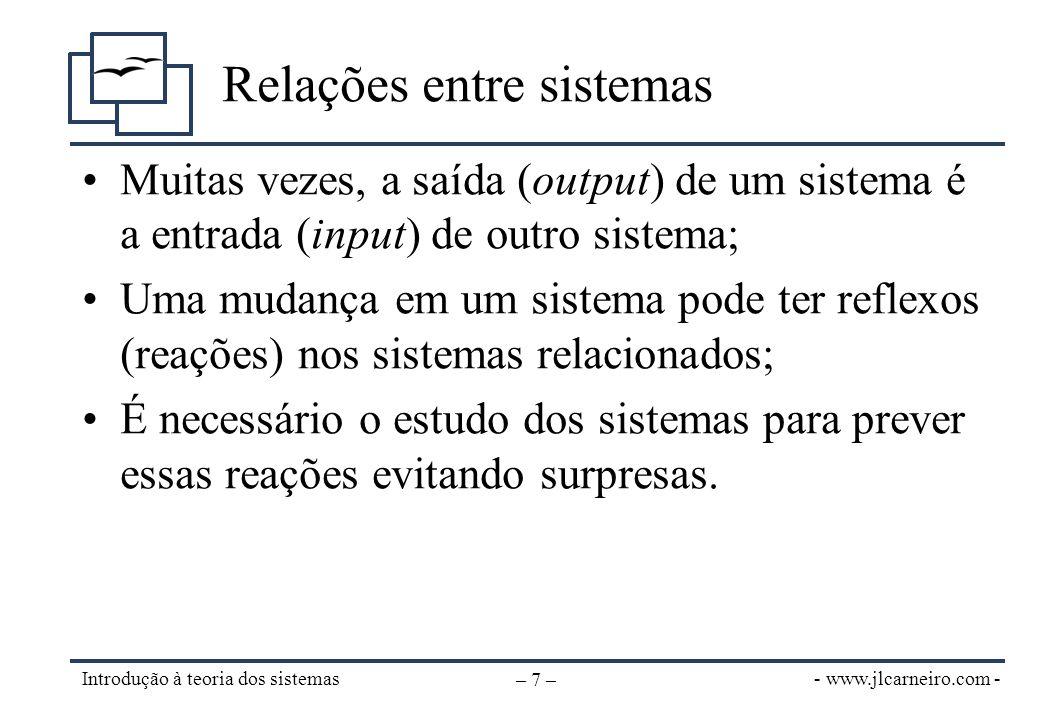 - www.jlcarneiro.com - Introdução à teoria dos sistemas – 8 – Definição de entropia •Para manter-se organizado um sistema depende de esforço (energia); –Os sistemas tendem a estados com menos energia •Na natureza, os sistemas tendem sempre à desorganização, ao caos.