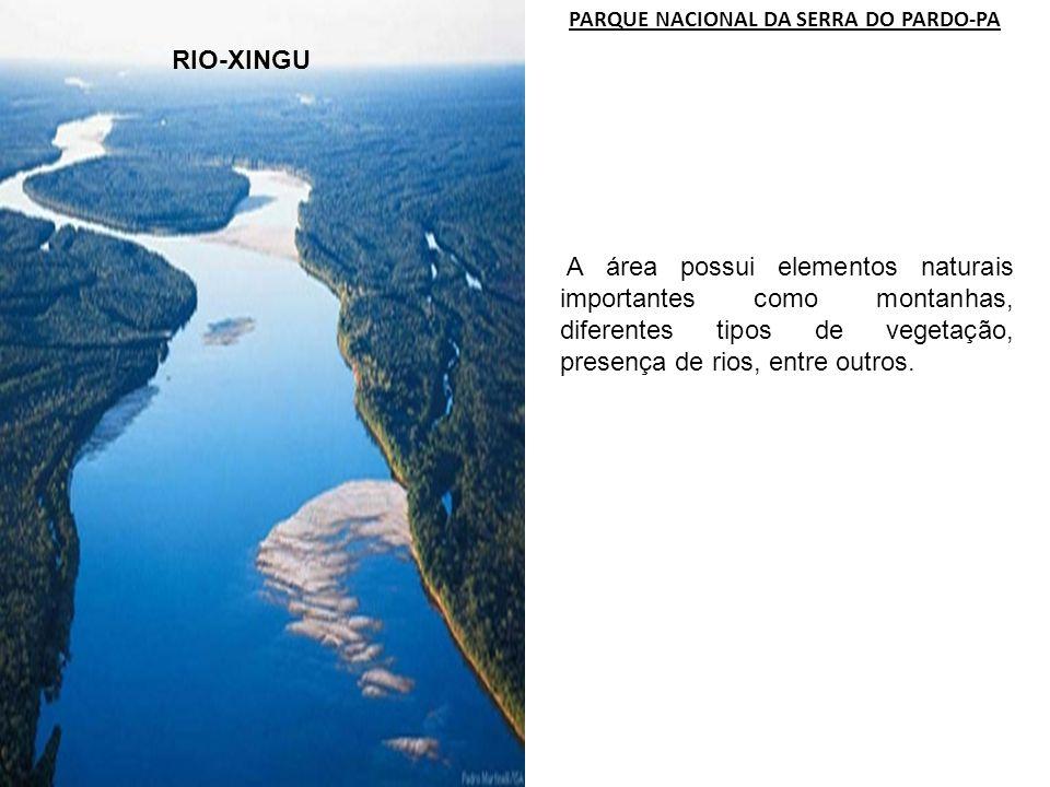 RIO-XINGU PARQUE NACIONAL DA SERRA DO PARDO-PA A área possui elementos naturais importantes como montanhas, diferentes tipos de vegetação, presença de