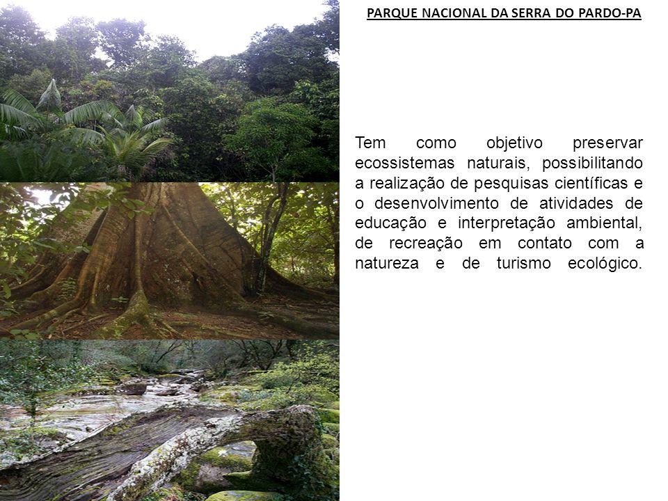 PARQUE NACIONAL DA SERRA DO PARDO-PA Tem como objetivo preservar ecossistemas naturais, possibilitando a realização de pesquisas científicas e o desen