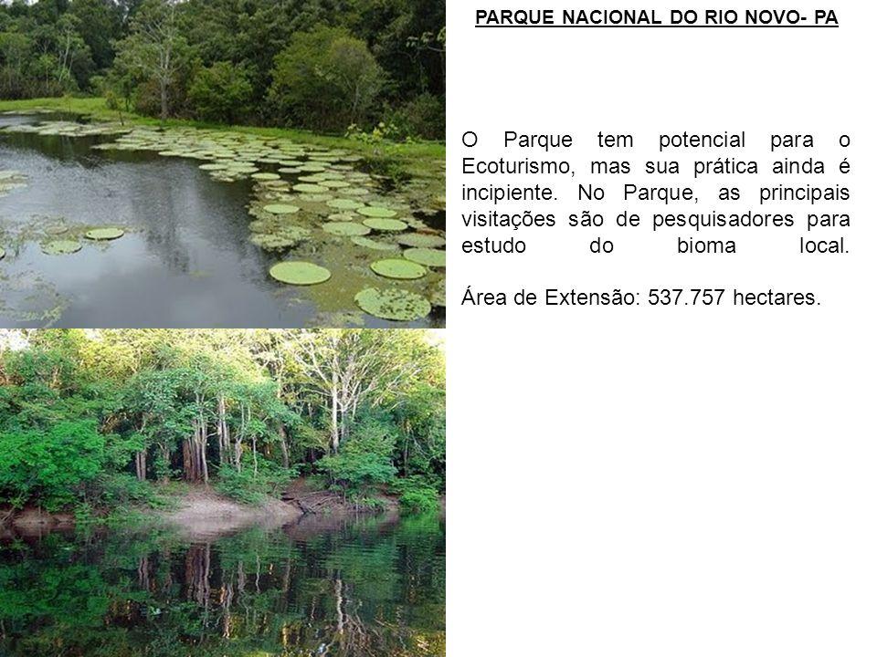 PARQUE NACIONAL DO RIO NOVO- PA O Parque tem potencial para o Ecoturismo, mas sua prática ainda é incipiente. No Parque, as principais visitações são
