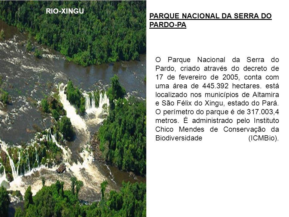 RIO-XINGU PARQUE NACIONAL DA SERRA DO PARDO-PA O Parque Nacional da Serra do Pardo, criado através do decreto de 17 de fevereiro de 2005, conta com um