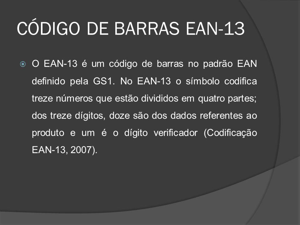 CÓDIGO DE BARRAS EAN-13  O EAN-13 é um código de barras no padrão EAN definido pela GS1.