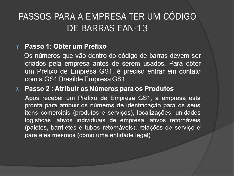 PASSOS PARA A EMPRESA TER UM CÓDIGO DE BARRAS EAN-13  Passo 1: Obter um Prefixo Os números que vão dentro do código de barras devem ser criados pela empresa antes de serem usados.