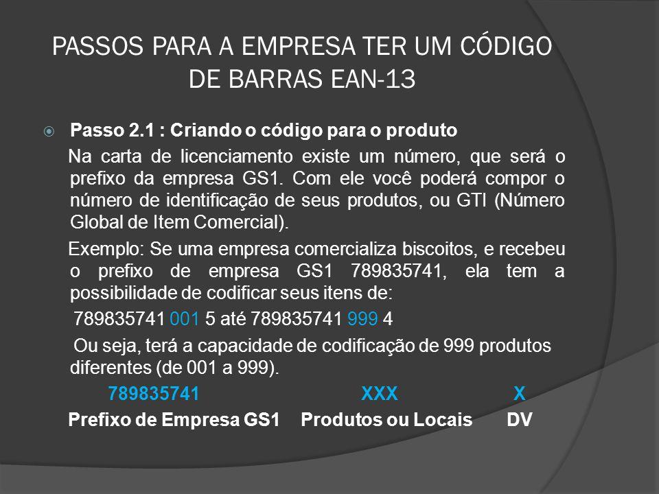 PASSOS PARA A EMPRESA TER UM CÓDIGO DE BARRAS EAN-13  Passo 2.1 : Criando o código para o produto Na carta de licenciamento existe um número, que será o prefixo da empresa GS1.