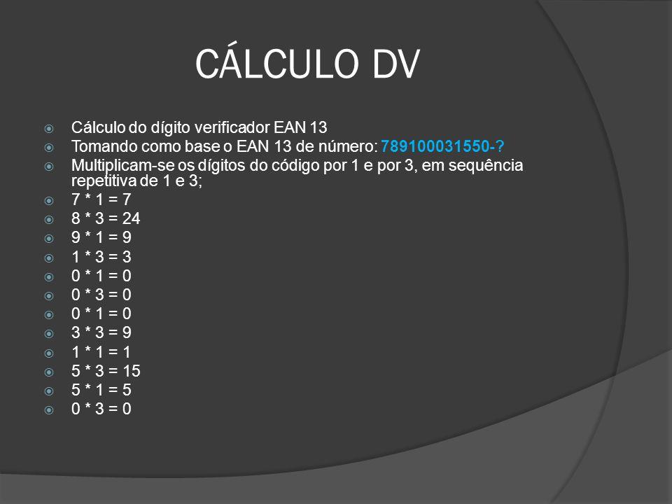 CÁLCULO DV  Cálculo do dígito verificador EAN 13  Tomando como base o EAN 13 de número: 789100031550-.