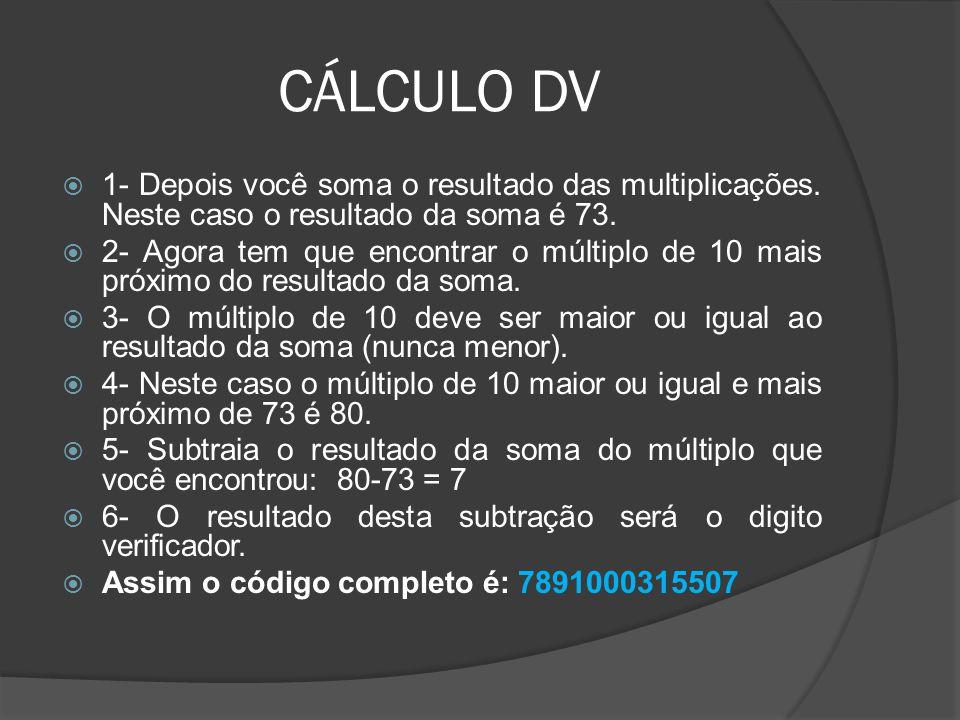 CÁLCULO DV  1- Depois você soma o resultado das multiplicações.