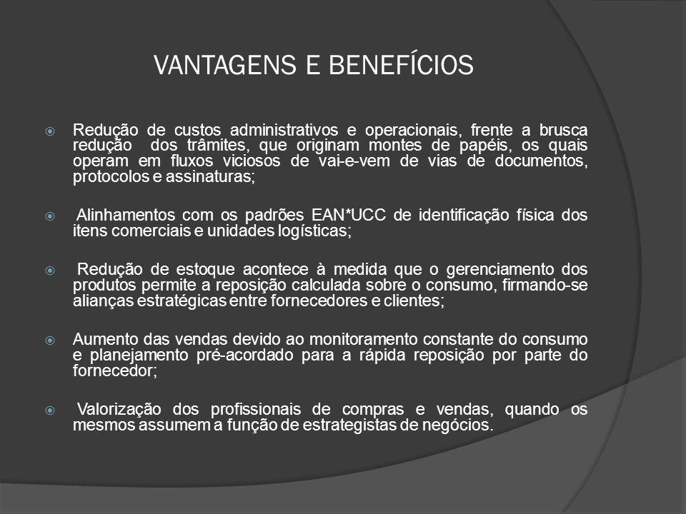 VANTAGENS E BENEFÍCIOS  Redução de custos administrativos e operacionais, frente a brusca redução dos trâmites, que originam montes de papéis, os quais operam em fluxos viciosos de vai-e-vem de vias de documentos, protocolos e assinaturas;  Alinhamentos com os padrões EAN*UCC de identificação física dos itens comerciais e unidades logísticas;  Redução de estoque acontece à medida que o gerenciamento dos produtos permite a reposição calculada sobre o consumo, firmando-se alianças estratégicas entre fornecedores e clientes;  Aumento das vendas devido ao monitoramento constante do consumo e planejamento pré-acordado para a rápida reposição por parte do fornecedor;  Valorização dos profissionais de compras e vendas, quando os mesmos assumem a função de estrategistas de negócios.