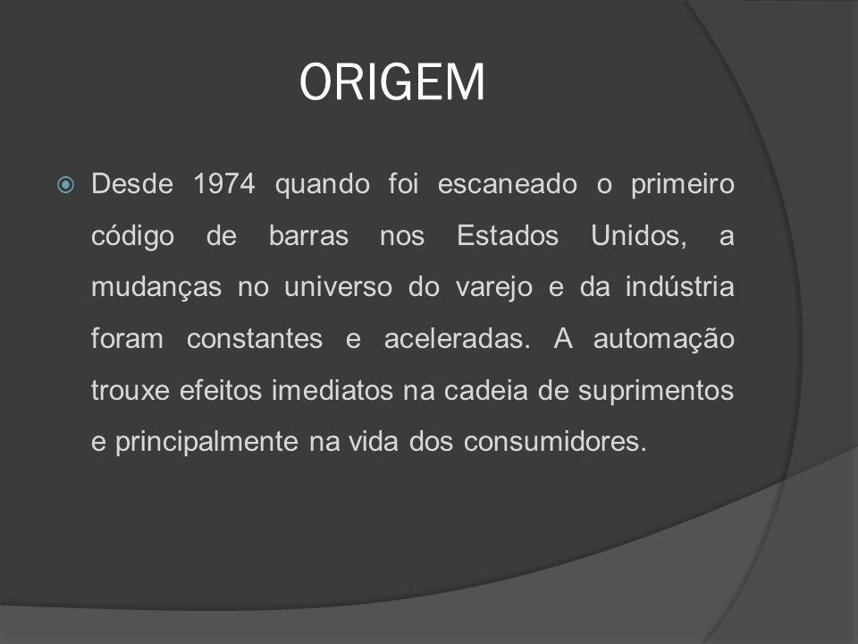 ORIGEM  Desde 1974 quando foi escaneado o primeiro código de barras nos Estados Unidos, a mudanças no universo do varejo e da indústria foram constantes e aceleradas.