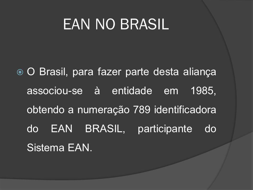 EAN NO BRASIL  O Brasil, para fazer parte desta aliança associou-se à entidade em 1985, obtendo a numeração 789 identificadora do EAN BRASIL, participante do Sistema EAN.