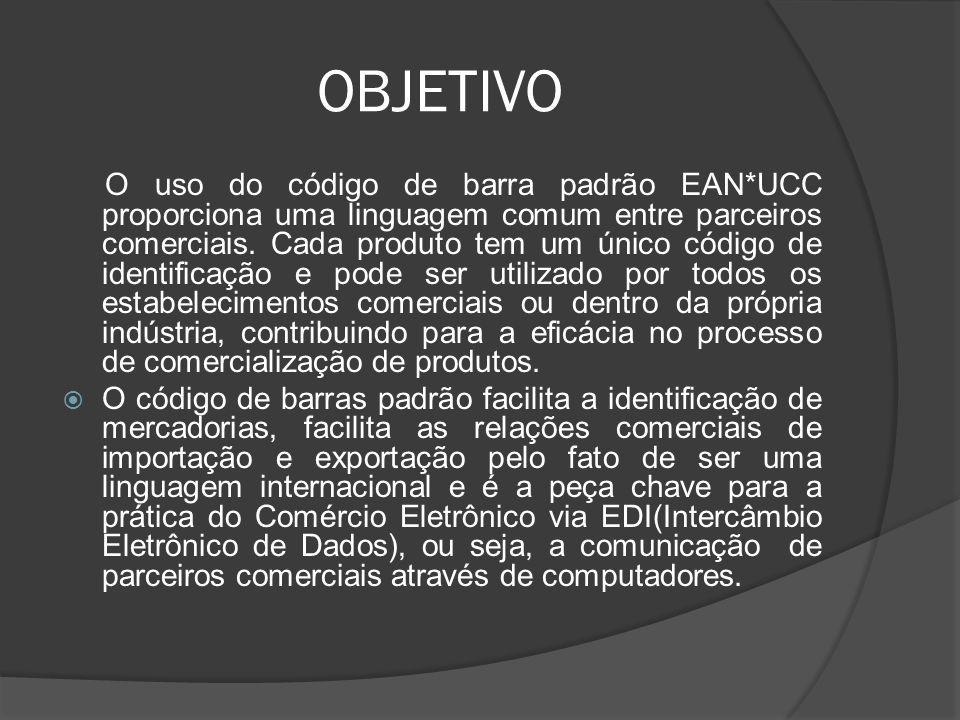 OBJETIVO O uso do código de barra padrão EAN*UCC proporciona uma linguagem comum entre parceiros comerciais.