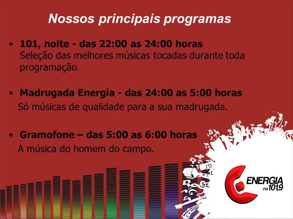 Nossos principais programas •101, noite - das 22:00 as 24:00 horas Seleção das melhores músicas tocadas durante toda programação. •Madrugada Energia -