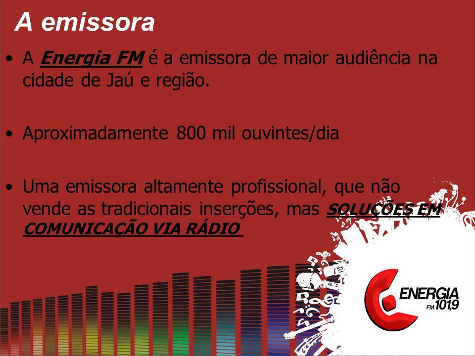 A emissora •A Energia FM é a emissora de maior audiência na cidade de Jaú e região. •Aproximadamente 800 mil ouvintes/dia •Uma emissora altamente prof