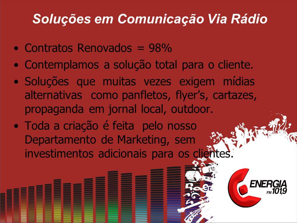 Soluções em Comunicação Via Rádio •Contratos Renovados = 98% •Contemplamos a solução total para o cliente. •Soluções que muitas vezes exigem mídias al