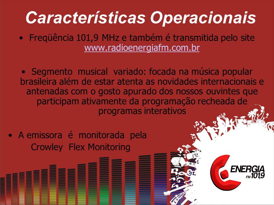 Características Operacionais •Freqüência 101,9 MHz e também é transmitida pelo site www.radioenergiafm.com.br www.radioenergiafm.com.br •Segmento musi