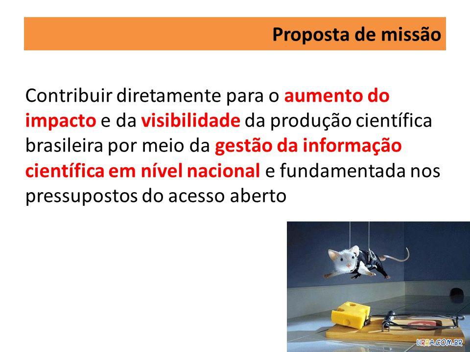 Proposta de missão Contribuir diretamente para o aumento do impacto e da visibilidade da produção científica brasileira por meio da gestão da informação científica em nível nacional e fundamentada nos pressupostos do acesso aberto