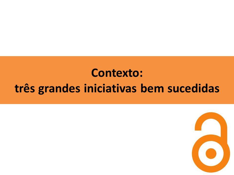 Contexto: três grandes iniciativas bem sucedidas
