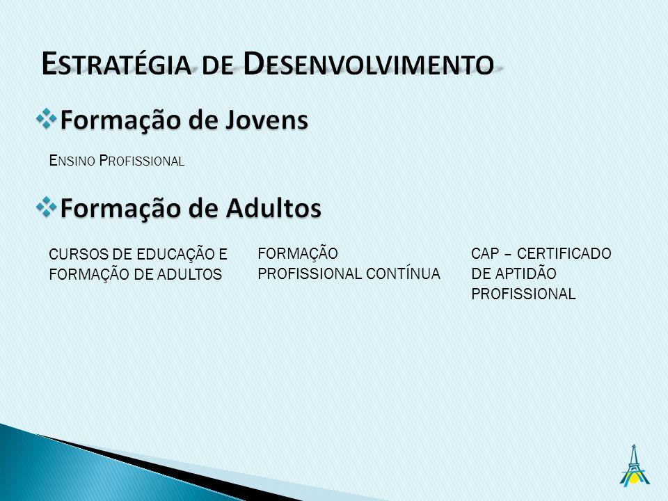 E NSINO P ROFISSIONAL FORMAÇÃO PROFISSIONAL CONTÍNUA CURSOS DE EDUCAÇÃO E FORMAÇÃO DE ADULTOS CAP – CERTIFICADO DE APTIDÃO PROFISSIONAL