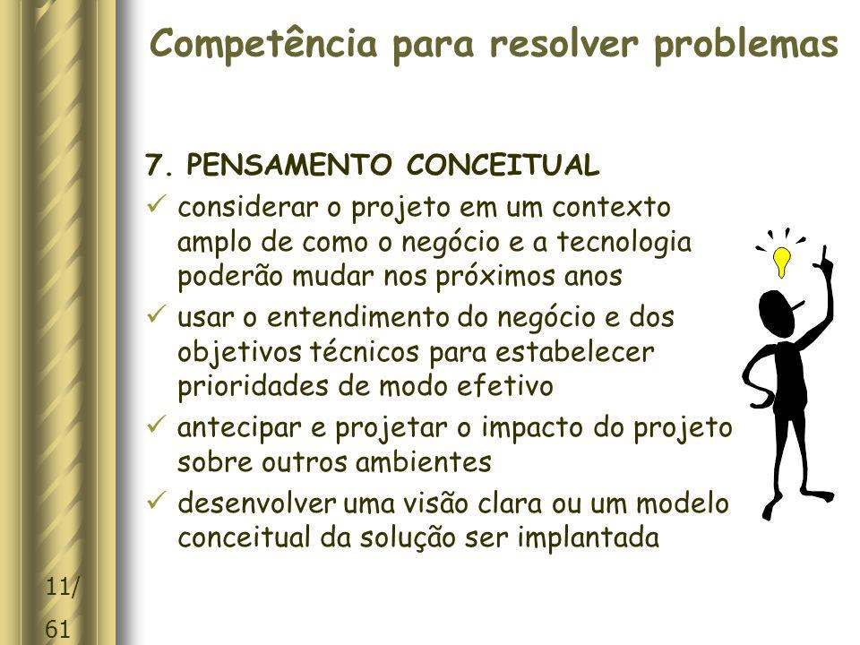 11/ 61 Competência para resolver problemas 7.