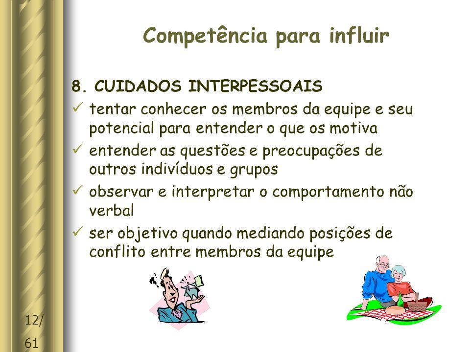 12/ 61 Competência para influir 8.