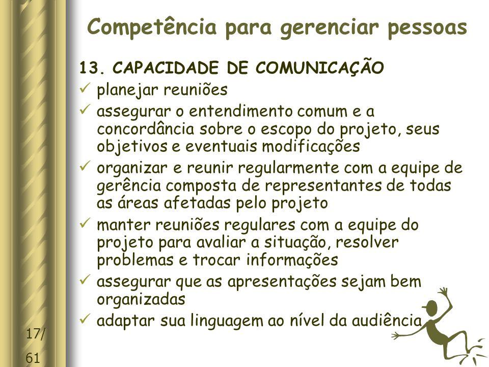 17/ 61 Competência para gerenciar pessoas 13.